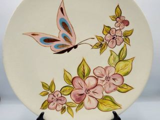 Holland Mold Hand Painted Plate Butterfly Floral Design   Signed and Dated 1961