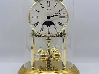 Vintage Hermle Anniversary Clock with Glass Dome   Moon   Stars   W  Germany