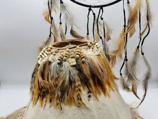 lamp Shade with Feathers   Beads and 9  Dreamcatcher