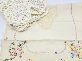 Vintage Antique Hand Embroidered Table Runner   Crochet Overlay