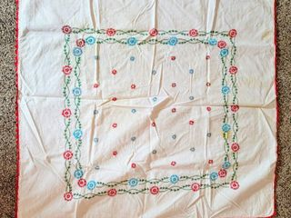 Vintage Embroidered Tablecloth or Overlay