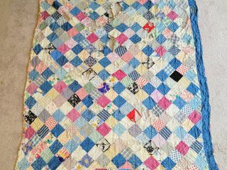 Antique Vintage Old Quilt 62  x 72 5