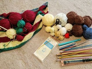 Knitting Supplies lot   Needles  Yarn   more