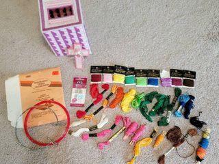 Embroidery Supplies lot   Colorful Threads  Needles   more