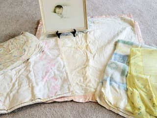Vintage Baby Blankets   Vintage  A little Dream  Framed Print