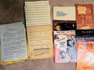 Sheet Music lot   Show Boat  Barbara Streisand  Eddie Rabbit  Choral Music   stack of blank music sheets