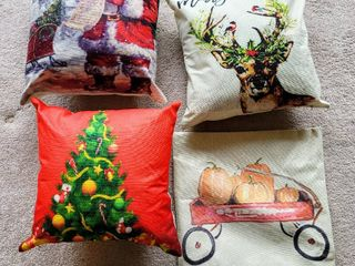 3  Christmas Pillow Covers w Pillows    1  Fall Pumpkin Pillow Cover