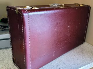 Vintage Hardshell Burgundy Suitcase with Clear lucite Handle