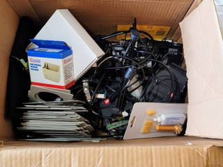 Box Full of Variety of Items   Mouse  Mouse Holder   Cleaning Kit  Telecom Cords   Accessories   more