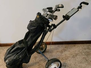MacGregor Tourney XP270  11  pc Golf Club Set and Spalding bag w  Pull Cart    3  Additional Golf Clubs