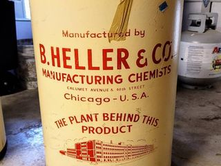 large Vintage B  Heller   Co  Manufacturing Drum
