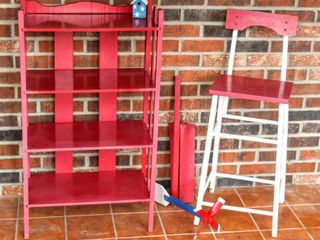 Red   White Decor   Red Shelving Unit 37  T x 31  W  Bar Stool   Wind Spinner   Decor