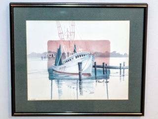 P  Brent  1057 Dockside I  Boat Watercolor Print Framed