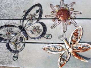 3  Outdoor Metal Wall Art Pieces   16  Sun  24  Butterfly   17  Dragonfly