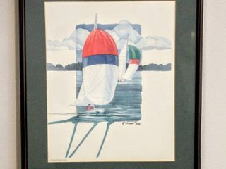 Signed P  Brent  218 Spinnakers  Red   Blue  Watercolor Print of Sailboats   Framed