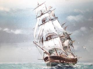 Signed Oil on Canvas Painting Clipper Ship on Rough Seas 49  x 29 5