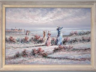 Marie Charlot IJ Oil on Canvas Victorian ladies at the Beach 41  x 29