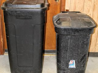 2  large Wheeled lidded Trash Cans