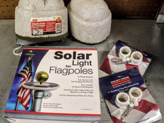 Outdoor lot   Solar light for Flagpoles  Flag Mounting Rings    2  Faucet Covers for Cold Weather