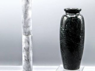 Gorgeous Green Stone Vase and Beautiful Gray Stone Holder Post  For Paper towels or BraceletsIJ