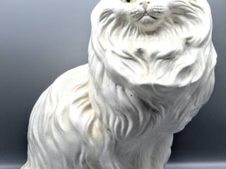 Vintage White Ceramic Cat Figurine Statue 13  Tall