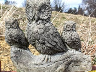 Trio of Owls Outdoor Concrete Sculpture 16  x 13