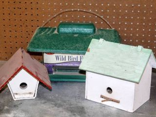 New Wild Bird Feeder and  2  Wooden Bird Houses