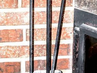 Mid Century Black Wrought Iron and Brass Accent Fireplace and Hearth Set  3 Tools  and Holder
