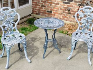 3 Piece Bistro Set with Rose Design