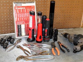 Heavy Duty Electric Drill  Wrenches  Plyers  Screwdrivers  Flashlights including Maglite and Mechanics Flashlights