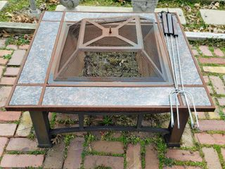 Fire Pit Set with Marble Tile and  3  Brinkman Roasting Sticks