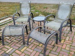 5  Piece Patio Set   2 Chairs  2 Footrests   matching side table
