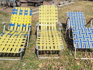 3  Aluminum Webbed lawn Chair loungers