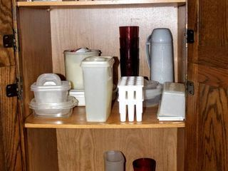 Cabinet Full of Food Storage Containers  Tupperware  Wire Cupboard Shelf  New Rubbermaid Twin Turntable   more