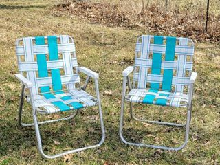 Pair of Sunbeam Aluminum Webbed lawn Chairs