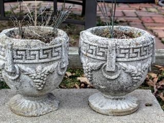 2  Decorative Concrete Planter Urns   Grape Design 14  x 13