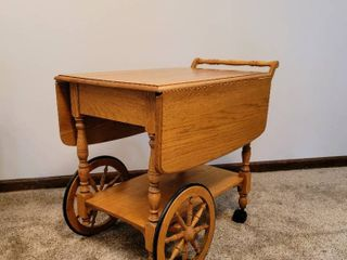 Solid Wood Maple Wagon Wheel Drop leaf Tea Bar Cart
