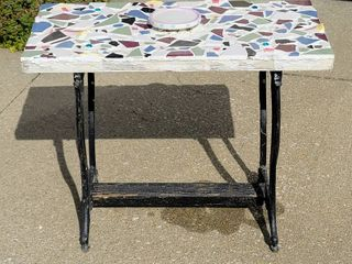 Unique Mosaic Table with Decorative Iron Base