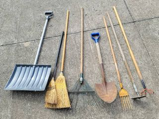 Yard and Garden Tools   Shovel  Hoe  Rakes  Brooms