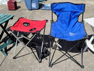 2  Collapsible Rectangular Camping Side Tables   1  Square with Drink Holders Collapsible Table   1  Camp Chair    4  Small Tiki Torches