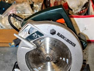 Black   Decker 2 1 3 HP Circular Saw   works    Boxes FUll of miscellaneous Hand Tools  Screws  Bolts and more