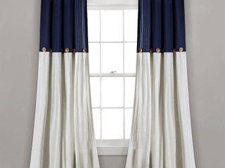 84 x40  linen Button light Filtering Window Curtain Panel Navy White   lush DAccor