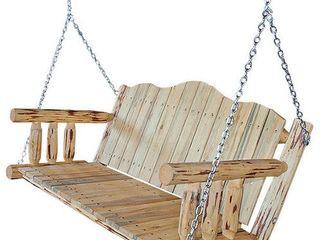 Rustic wood swing chair
