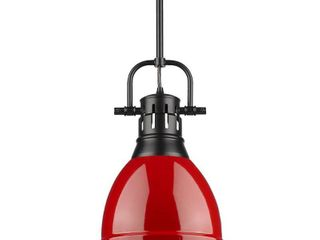 Duncan Small Pendant with Rod in Black with a Red Shade