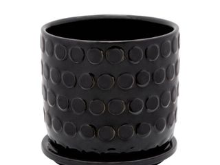 6  Bubble Planter with Saucer Black   Sagebrook Home