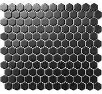 1in x 1in hex black tile