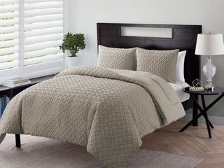 Nina 3 Piece Basket Weave Soft Textured Bedding Full Queen Size Quilt Set  With Shams  in Taupe