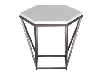 Corvus white marble top end table