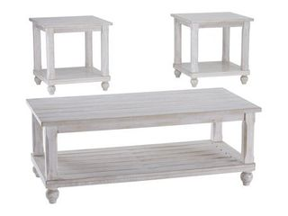 Set of 3 Cloudhurst Occasional Table Set White   Signature Design by Ashley