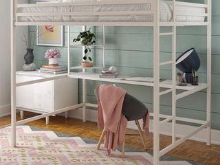 Full Maxwell Metal loft Bed with Desk   Shelves White   Novogratz